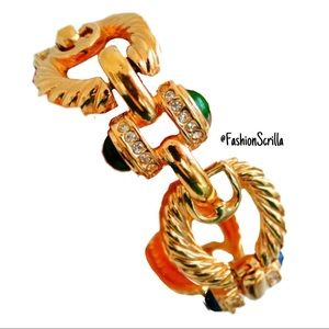 Givenchy Gold Cable gripoix cabochon runway